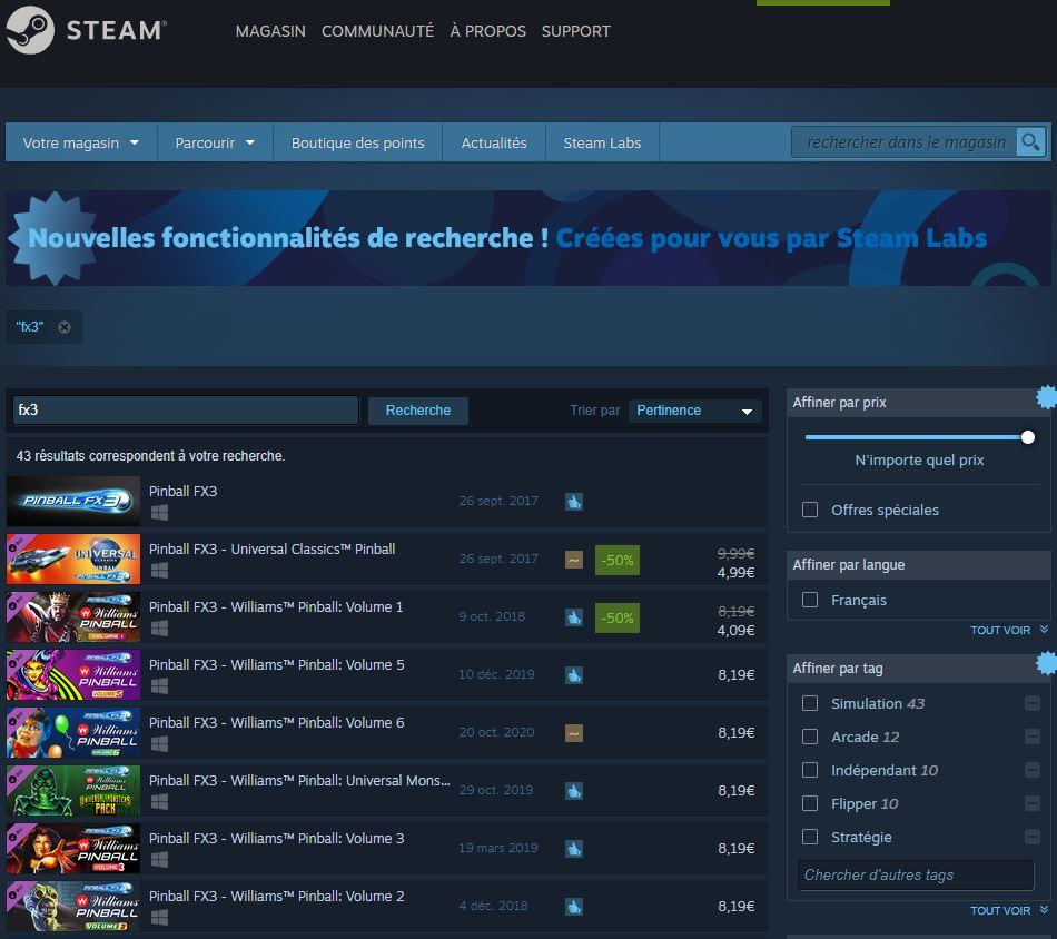Pinball FX3 sur Steam